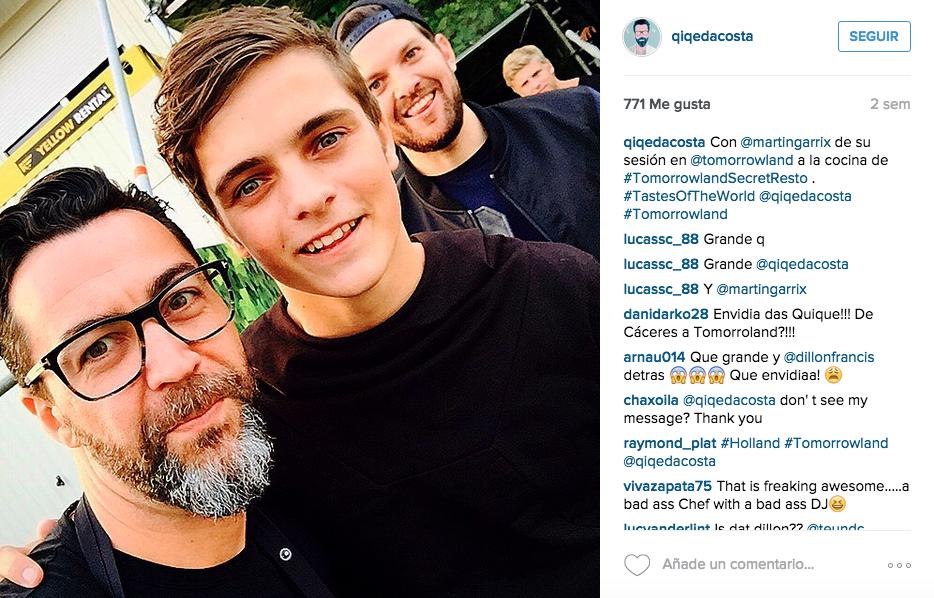 Quique Dacosta con Martin Garrix en Tomorrowland