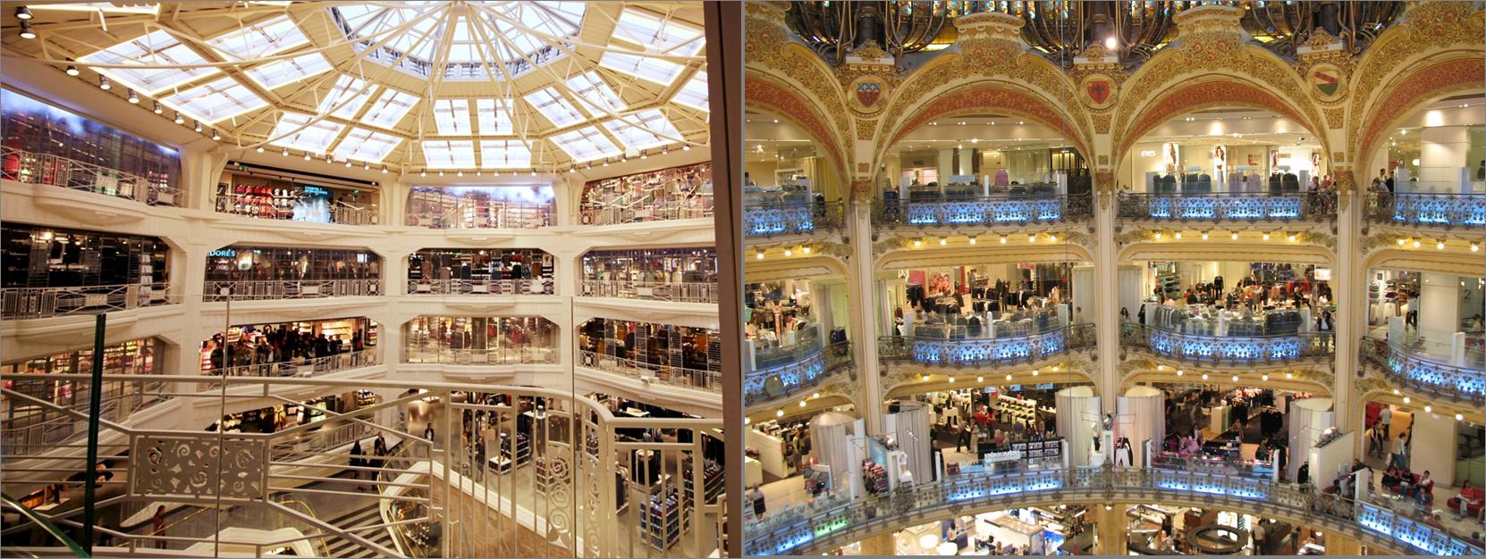A la izquierda, Primark Gran Vía. A la derecha, Galeries Lafayette París.