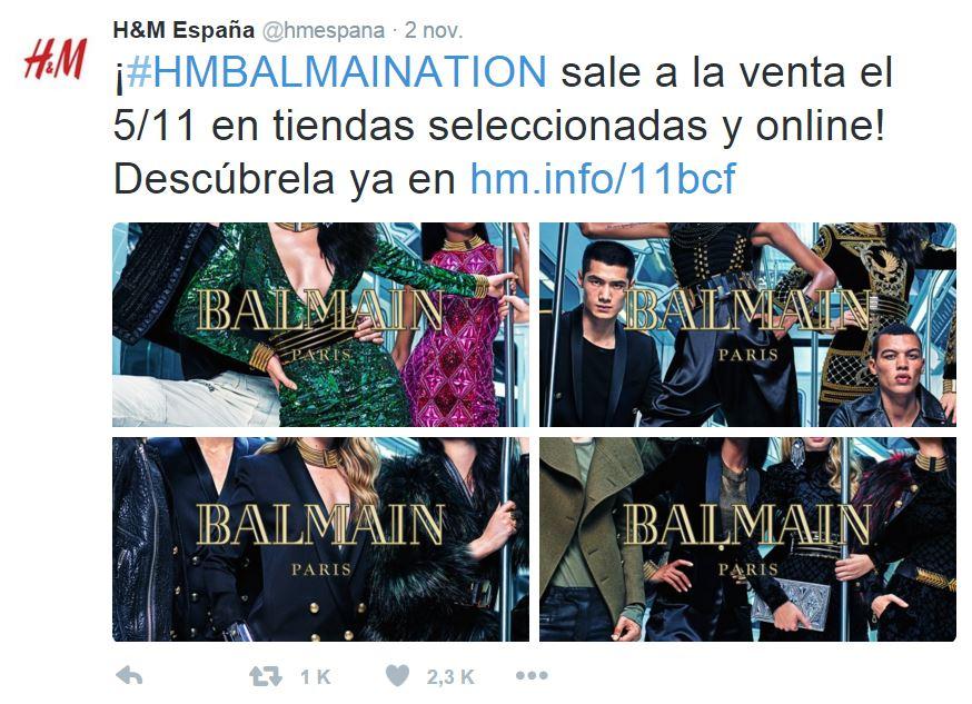 """Tuit de H&M España con miles de retuits y """"me gusta"""""""